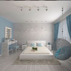 Ideas For Bedroom Interior Grey Quartos Hotel Room Design, Bedroom Closet Design, Girl Bedroom Designs, Master Bedroom Design, Home Decor Bedroom, Bedroom Ideas, Cozy Bedroom, Bedroom Tv, Blue Bedroom