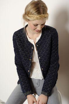 Veste Holga marine 60%coton 30%polyester 10%lurex - manteau Femme