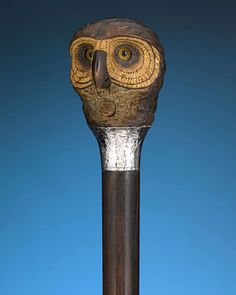 "Owl Automaton Cane - With a press of a button, the eyes of this wise owl transform from a direct gaze into a jovial expression.   37 1/2"" length"