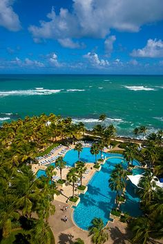 The Caribbean and the pool at the Hilton Hotel, San Juan, Puerto Rico. Going in July can't wait.....