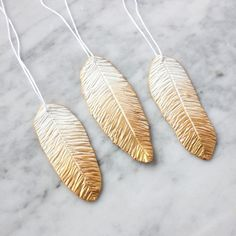 Gilded Feather Polymer Clay Ornaments - Lines Across