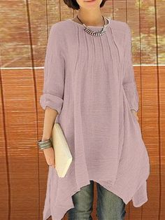 Women Long Sleeve Pure Color Asymmetrica Loose Shirts