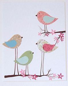 Kids Wall Art,  Baby Girl Room Art, Nursery Decor, Birds, Cherry Blossom Tree, Mama and Her Little Ones, 8x10 Print. $14.00, via Etsy.