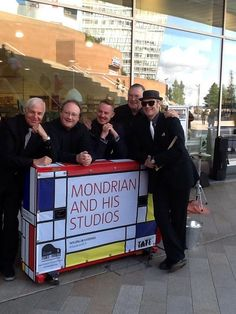 Gathered around Tate Modern's Mondrian themed piano for press launch.