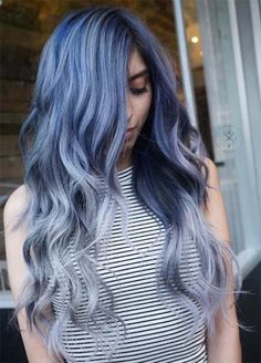 Blue Denim Hair Colors: Melted Steel Balayage