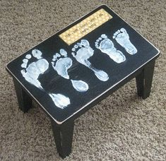family footprints on kitchen stool
