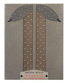 ARTAUD (Antonin)  À LA GRANDE NUIT OU LE BLUFF SURRÉALISTE. Paris, [chez l'Auteur], 1927. In-12 reliure souple plein veau taupe irisé, composition géométrique sur le premier plat, composée de 2 pièces verticales de veau à point en relief, surmontées de 2 autres pièces recouvertes par 2 petites barrettes, pièce de veau beige riveté portant le titre, doublures d'agneau gris bleu, couvertures conservées, chemise titrée au palladium, étui (Jean de Gonet).