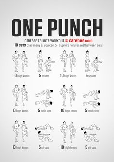 One Punch Workout Diet plan for weight loss in two weeks! Do yourself a flat belly! Band Workout, Workout Diet Plan, Gym Workout Tips, Boxing Workout, Workout Challenge, Workout Plans, Workout Routines, Hero Workouts, One Punch Man Workout