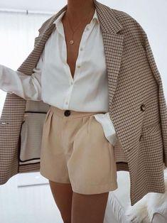 Khaki Blazer, Look Blazer, Blazer Suit, Brown Blazer, Casual Blazer, Check Blazer, Style Casual, Women's Casual, Classy Style