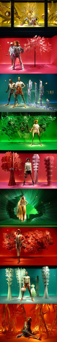Fantasy display~Urban nature at Printemps Window Display Design, Store Window Displays, Retail Displays, Visual Merchandising Displays, Visual Display, Retail Windows, Store Windows, Vitrine Design, Urban Nature