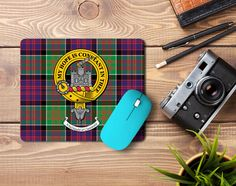 Rubber mousemat with MacDonald of Clanranald clan crest and tartan - only from ScotClans