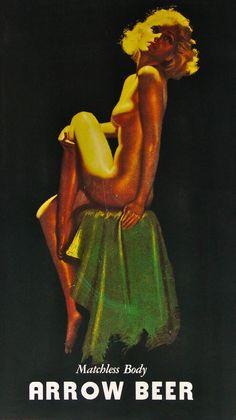 Arrow Vintage Beer Art    Tag: Goddess of prurient luftmensch    History: http://www.eastcoastbrew.com/kegarrow.htm
