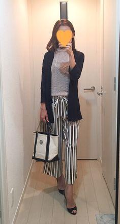 Navy cardigan: ZARA, Knit: ZARA, Striped pants: ZARA, Bag: L.L.Bean, Pumps: Christian Louboutin