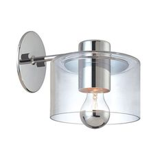 Transparence Polished Chrome Sconce Extension Sonneman 1 Light Armed Glass Wall Sconces Wa