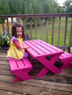 Kids Modern Picnic Table | Do It Yourself Home Projects from Ana White #diywoodprojectsforkids