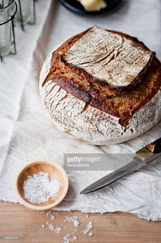 Stock Photo : Sourdough bread and salt