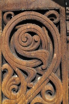 Wood carving on Heddal stave church; Notodden, Telemark