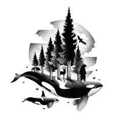 Illustration by Thiago Bianchini Killer Whale Tattoo, Whale Tattoos, Killer Whales, Washington Tattoo, Art Sketches, Art Drawings, Orca Art, Petit Tattoo, 1 Tattoo