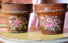 Rust and Pink Large Plant Pots Rust distressed and painted with pink flowers *{1-1/4inch high X 1-1/2wide at mouth}