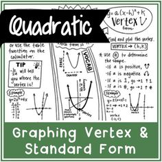 GRAPHING A QUADRATIC FUNCTIONIncludes: standard Form vertex Form simple vocabularyCheck out my other quadratic resources! Solving a Quadratic Equation | Doodle Notes Quadratic Function Overview | Doodle Notes Quadratic Formula & Discriminant | Doodle Notes======================================================ABOUT DOODLE NOTESAll doodle notes are one-page, hand drawn summaries of specific math topics.