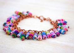 Beaded Bracelet Boho Shabby Chic Fabric Textile by jimenasjewelry, $78.00