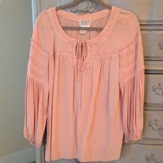 M.S.S.P. Pink Pleated Shirt Purchased from Dillards, beautiful boho shirt. 100% Rayon, been dry cleaned. Small stain (see photo) but in great condition! Dillard's Tops Blouses
