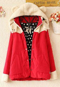 Cute cartoon hooded lamb fur warm coat