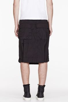 Rick Owens DRKSHDW Washed Black Loinpods Hybrid Shorts for men | SSENSE