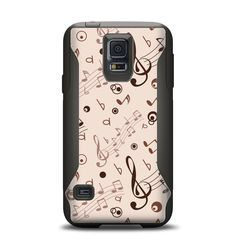 The Tan Music Note Pattern Samsung Galaxy S5 Otterbox Commuter Case Skin Set