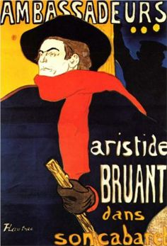 I was into Henri Toulouse-Lautrec not just for his impressionist paintings, but for his subject matter, the seamy nightlife of Paris, and also his graphic sensibility in his posters. I had this one  on the wall when I was in art school...