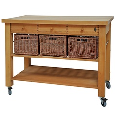 Butcher's trolley from John Lewis - A solid beech kitchen trolley with baskets… Kitchen Island Trolley, Kitchen Island Storage, Farmhouse Kitchen Island, Modern Kitchen Island, Kitchen Island Lighting, Kitchen Units, Kitchen Layout, Kitchen Design, Kitchen Islands