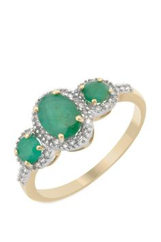 0.90 CTW Emerald 14K Gold Three-Stone Plus Ring | Brandsfever