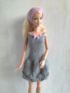 ON SALE Barbie dress, knitted dress and headband, Barbie clothes, balloon dress…