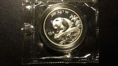 1999 1 oz SILVER PANDA SMALL DATE DOUBLE SEALED UNCIRCULATED