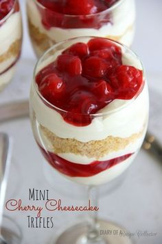 Mini Cherry Cheesecake Trifles - A wonderful cheesecake pudding layered with cherry pie filling and crushed graham crackers make a wonderful dessert!