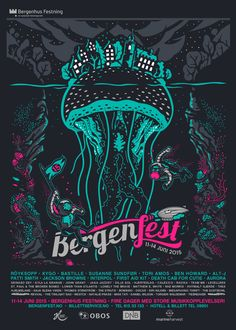This is the 3rd year that I have had the opportunity to design and illustrate for Bergenfest which is a music and arts festival held each summer in Bergen, Norway. I can't say enough great things about the Bergenfest Crew, Cube Services and all amazing pe…