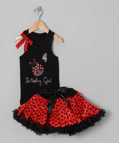 This So Girly & Twirly Black Ladybug '4' Birthday Tank & Pettiskirt - Girls by So Girly & Twirly is perfect! #zulilyfinds