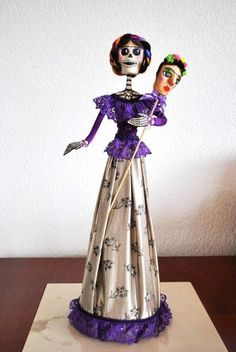 Mexican Folk Crafts, catrinas, paper mache, Frida Kahlo - This series sells for $1,900 apiece.