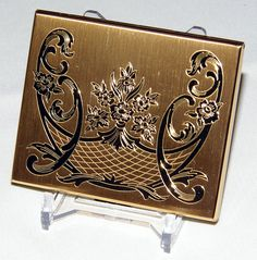 Vintage Elgin American Goldtone Powder Compact with Floral Design, Measures 2-3/4 Inches Wide x 2-1/8 Inches High.