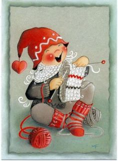 2000s-Gnome-knitting-by-Toivanen-Finnish-Artist-Unposted-postcard