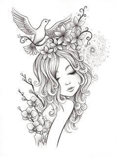 Spirals – Coloring Page – Jeremiah Ketner – Rose coloring pages - Malvorlagen Mandala Detailed Coloring Pages, Fairy Coloring Pages, Coloring Books, Girls Coloring Pages, Coloring Sheets, Free Adult Coloring, Printable Adult Coloring Pages, Cute Fairy, Art Drawings Sketches