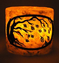 Amber Winds | Flickr - Photo Sharing! Polymer clay votive candle holder. By Rebecca Payne, Treewing Studios