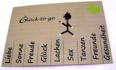 """Postkarte ♥Glück to go♥    kleines Männchen trägt ein Herz   unten wie Abriss""""zettel"""" wer mag schneidt die Linien leicht ein- mit Sonne,Freunde,Glü..."""