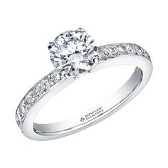 Canadian Round Brilliant Engagement Ring with Diamond Pave on the Shank Canadian Diamonds, Shank, Diamond Engagement Rings, Beautiful, Collection, Jewelry, Jewlery, Bijoux, Schmuck