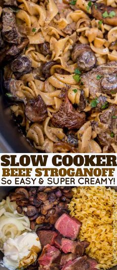Slow Cooker Beef Stroganoff with tender, sliceable cuts of beef and noodles cooked together in the slow cooker with a rich creamy mushroom sauce.