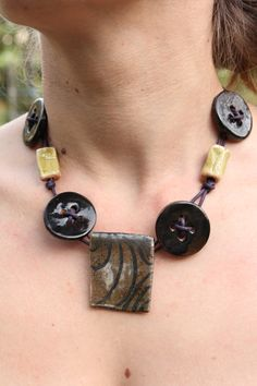 Ceramic button necklace