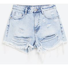 SHORTS DENIM STRAPPI ($28) found on Polyvore featuring women's fashion, shorts and denim shorts