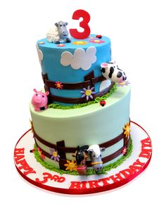 Farm Themed Birthday Cake This fun farm-themed cake was made for Diya's 3rd Birthday and was a talking point at the party which catered for 30 people. The guests loved the busy effect created by all the different animals and little Diya was over the moon! We used two tiers to create the cake and cut the top of the lower one at an angle into a topsy-turvy shape which adds a fun ... http://cmnycakes.com/gallery2/v/Cakes+For+All+Occasions/Farm+Themed+Birthday+Cake.html?