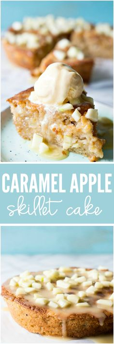 Caramel Apple Skillet Cake is light and fluffy and topped with a homemade caramel apple glaze. Perfect for Fall baking!