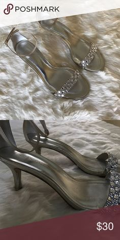 Silver Dressy Heel Sandals with Diamonds Worn once for prom! Good condition and really cute. Make an offer! Caparros Shoes Heels
